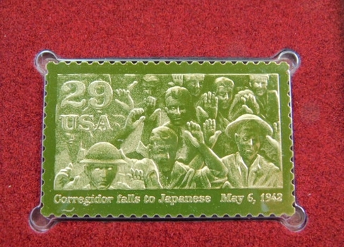22K Gold Gleaming Surface Proof Replica Stamp - World War II - Corregidor - Golden Replicas of United States Stamps - FDC