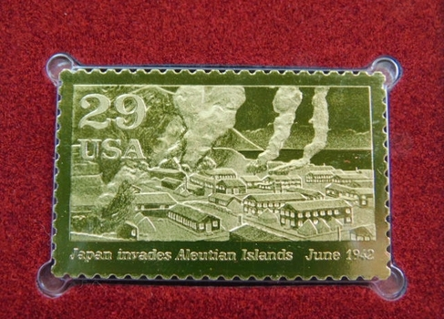 22K Gold Gleaming Surface Proof Replica Stamp - World War II - Aleutian Islands - Golden Replicas of United States Stamps - FDC