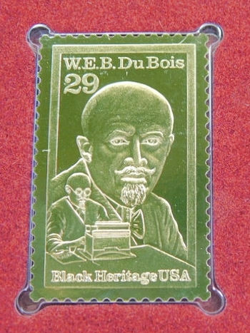 22K Gold Gleaming Surface Proof Replica Stamp - W.E.B. DuBois - Black Heritage Series - Golden Replicas of United States Stamps - FDC
