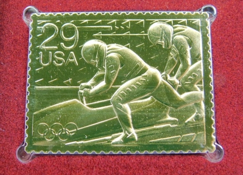 22K Gold Gleaming Surface Proof Replica Stamp - Winter Olympics - Bobsledding - Golden Replicas of United States Stamps - FDC
