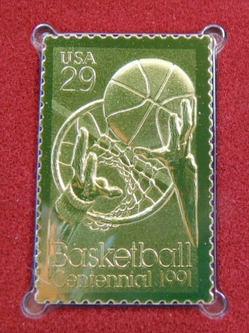 22K Gold Gleaming Surface Proof Replica Stamp - Basketball - 100th Anniversary - Golden Replicas of United States Stamps - FDC