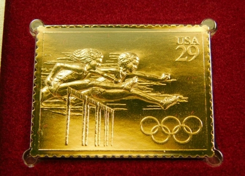 22K Gold Gleaming Surface Proof Replica Stamp - Olympic Track and Field - Hurdles - Golden Replicas of United States Stamps - FDC