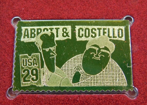 22K Gold Gleaming Surface Proof Replica Stamp - Comedians - Early Television - Golden Replicas of United States Stamps - FDC