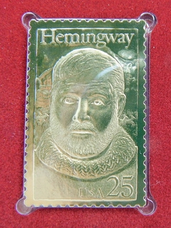 22K Gold Gleaming Surface Proof Replica Stamp - Ernest Hemingway - Literary Arts Series - Golden Replicas of United States Stamps - FDC