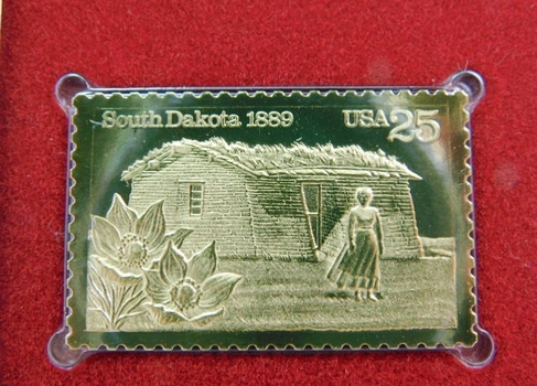 22K Gold Gleaming Surface Proof Replica Stamp - South Dakota Statehood - 100th Anniversary - Golden Replicas of United States Stamps - FDC