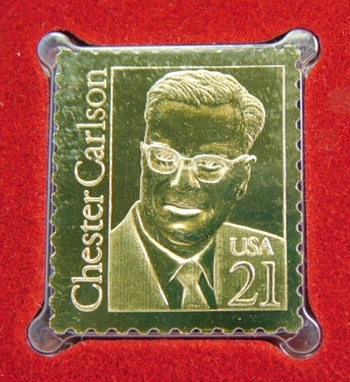 Lot of Two (2) 22K Gold Proof Replica Stamp - Chester Carlson\Father of Xerography & America/Tropical Forest - Golden Replicas of United States Stamps - FDC