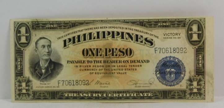1944 Philippines One Peso Victory Issue - Payable in Silver Pesos - World War II Issue - High Grade Crisp Note