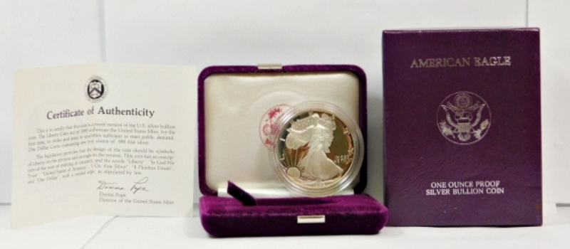 1986-S Proof American Silver Eagle - In Original Purple Velvet Box from the San Francisco Mint - Also Included is Outside Cover Box