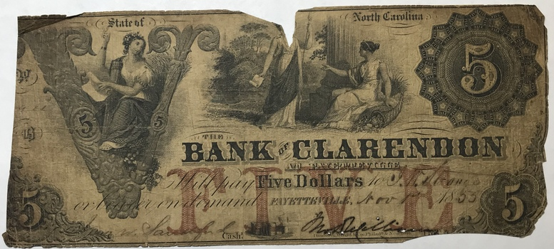 1855 $5 State of North Carolina Bank of Clarendon Obsolete Bank Note