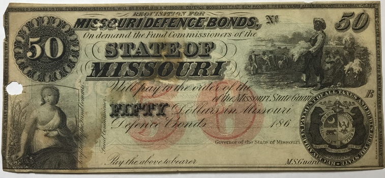 1860s $50 State of Missouri State Guard Defence Bonds Obsolete Note