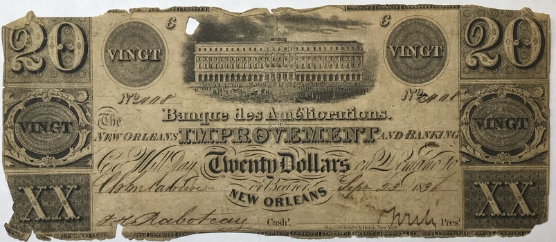 1836 $20 New Orleans Improvement and Banking Co. Louisiana Obsolete Bank Note