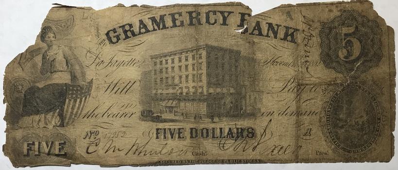 1852 $5 Gramercy Bank Lafayette, Louisiana Obsolete Bank Note