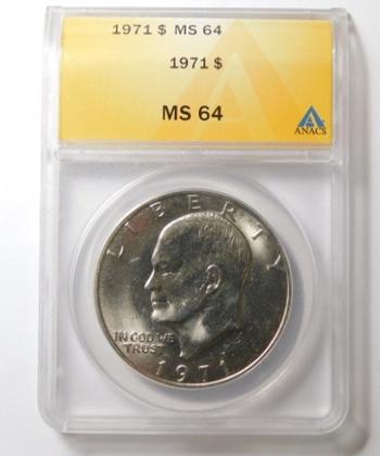 "HIGH GRADE!! - 1971 Eisenhower ""IKE"" Dollar - Graded MS64 by ANACS"