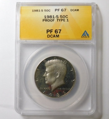 HIGH GRADE!! - 1981-S Type 1 Proof Kennedy Half Dollar - Graded PF67 DCAM by ANACS