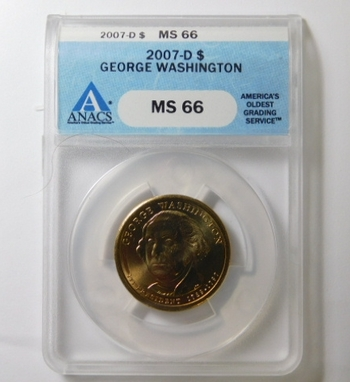 HIGH GRADE!! - 2007-D George Washington Commemorative Presidential Dollar - Graded MS66 by ANACS