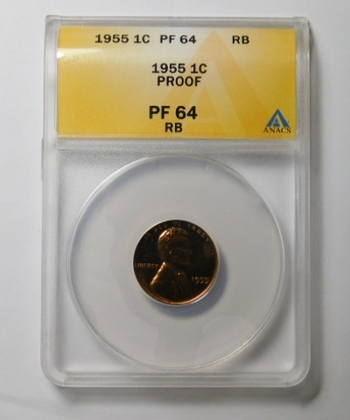 HIGH GRADE!! - 1955 Proof Lincoln Wheat Cent - Graded PF64 RB (Red Brown) by ANACS