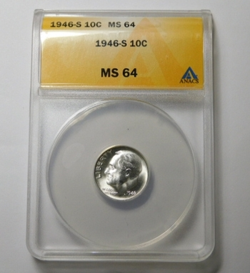 HIGH GRADE!! - 1946-S Silver Roosevelt Dime - Graded MS64 by ANACS