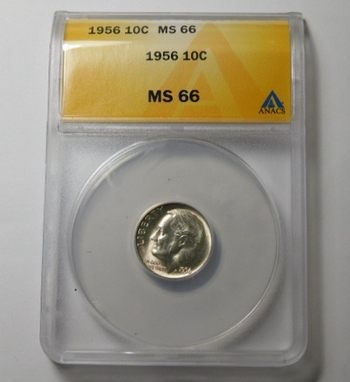 HIGH GRADE!! - 1956 Silver Roosevelt Dime - Graded MS66 by ANACS