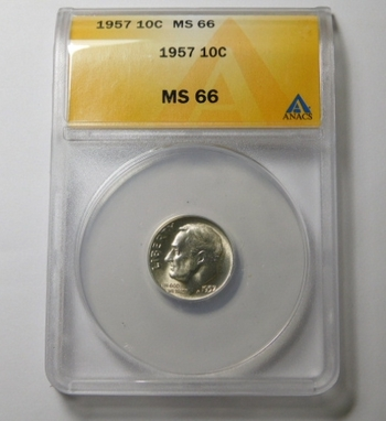 HIGH GRADE!! - 1957 Silver Roosevelt Dime - Graded MS66 by ANACS