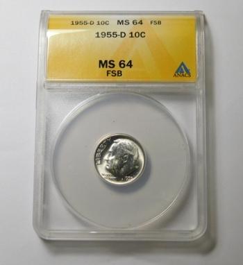 HIGH GRADE!! - 1955-D Silver Roosevelt Dime - Graded MS64 FSB (Full Split Bands) by ANACS