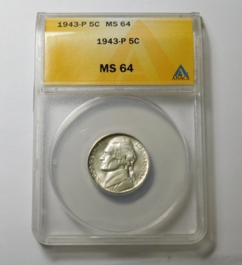 HIGH GRADE!! - 1943-P Silver Wartime Silver Jefferson Nickel - Graded MS64 by ANACS