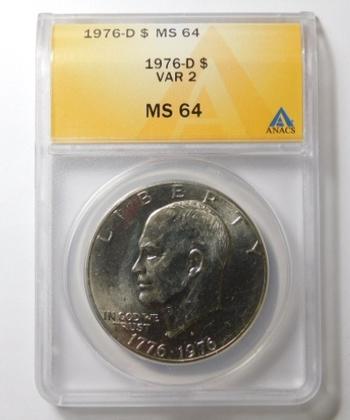 """HIGH GRADE!! - 1976-D VAR 2 Eisenhower """"IKE"""" Dollar - Graded MS64 by ANACS"""