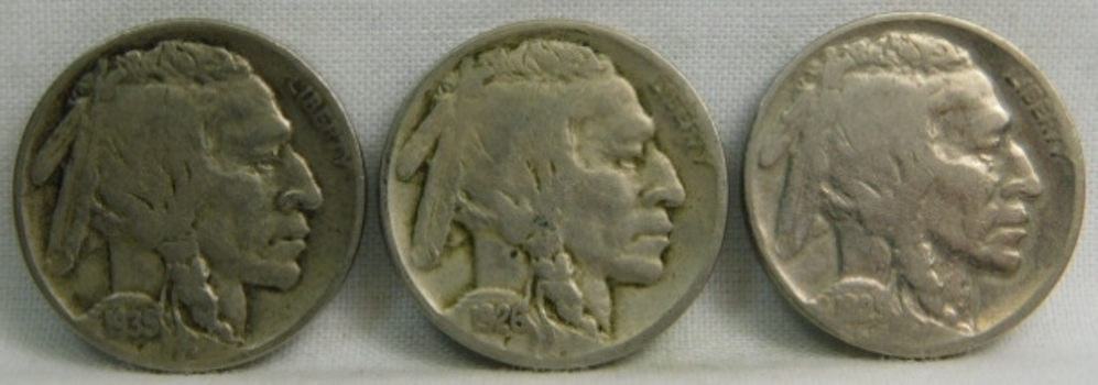 Herd of Five (5) Buffalo Nickels - 1926, 1935, 1936, 1929 and 1930
