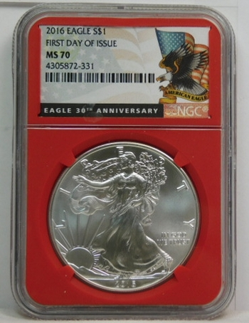 2016 American Silver Eagle - First Day of Issue - 30th Anniversary of the Eagle - Graded MS70 by NCG - Nice White Coin