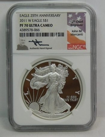 2011-W American Proof Silver Eagle - HAND SIGNED by John M. Mercanti; 12th Chief Engraver  - West Point Minted - Graded PF70 ULTRA CAMEO by NGC