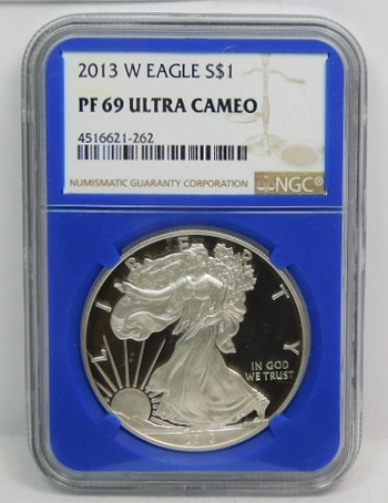 2013-W American Proof Silver Eagle - West Point Minted - Graded PF69 ULTRA CAMEO by NGC