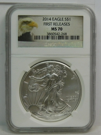 2014 American Silver Eagle - First Releases Coin - Graded MS70 by NGC - Nice White Coin - Struck at Philadelphia