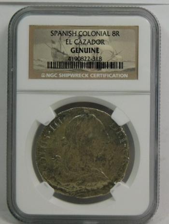 El Cazador - Sunken Treasure Shipwreck Spanish Colonial Silver Reales - NGC Genuine Shipwreck Certification