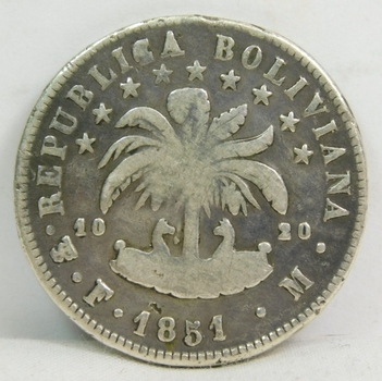 1851 Bolivia Silver 8 Soles