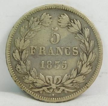 1835 France Silver 5 Francs