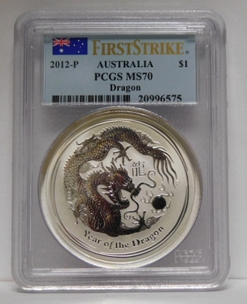 2012-P Australia Silver Dollar - First Strike - Year of the Dragon - Graded MS70 by PCGS