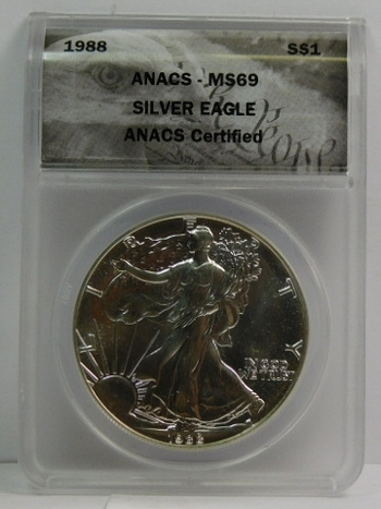 1988 American Silver Eagle - Graded MS69 by ANACS - Beautiful Luster