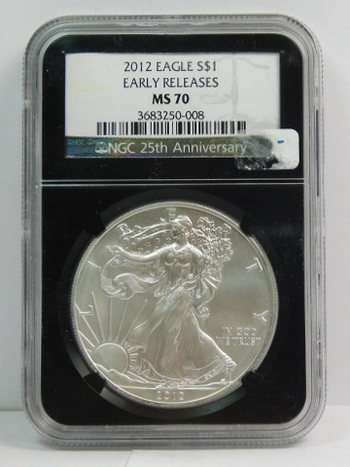 2012 American Silver Eagle - Early Releases Coin - Graded MS70 by NGC - Pure White Coin