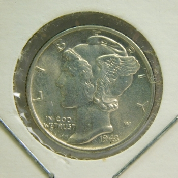 1943 SILVER Mercury Head Dime - High Grade Coin - Excellent Detail and Luster - Struck in Philadelphia