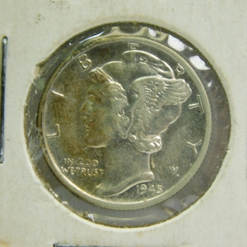 """1945-S (Micro """"S"""") Silver Mercury Head Dime - Nice Detail and Luster - San Francisco Minted"""