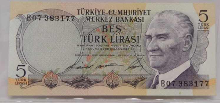 1968 Turkey Five Lira Crisp And Uncirculated Banknote
