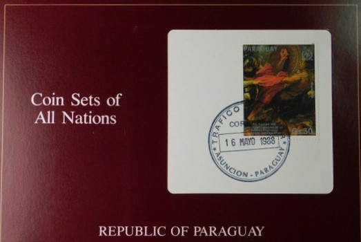 Republic of Paraguay - Coins of All Nations - Four Uncirculated Coins with Cancelled Stamp