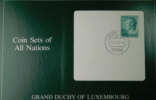 Grand Duchy of Luxembourg - Coin Sets of All Nations - Four Uncirculated Coins with Cancelled Stamp