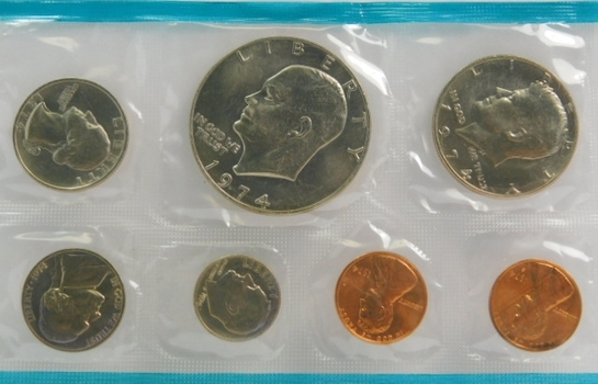 "1974 United States Philadelphia Uncirculated Coin Set with Additional ""S"" Cent"
