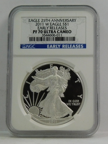 2011-W American Proof Silver Eagle - Early Releases Coin - West Point Minted - Graded PF70 ULTRA CAMEO by NGC - 25th Anniversary of the Eagle