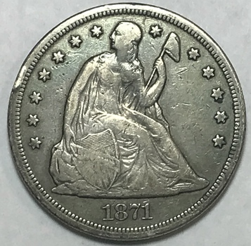 1871 Seated Liberty Silver Dollar - Nice Early Coin!