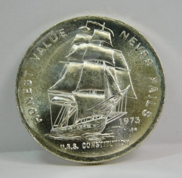 1973 U.S.S. Constitution Ship 1 oz .999 Fine Silver Commemorative Minted by the Constitution Mint