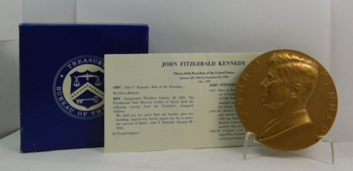 "Large 3"" John F. Kennedy Inauguration Commemorative Bronze Medal in Original U.S. Mint Box"