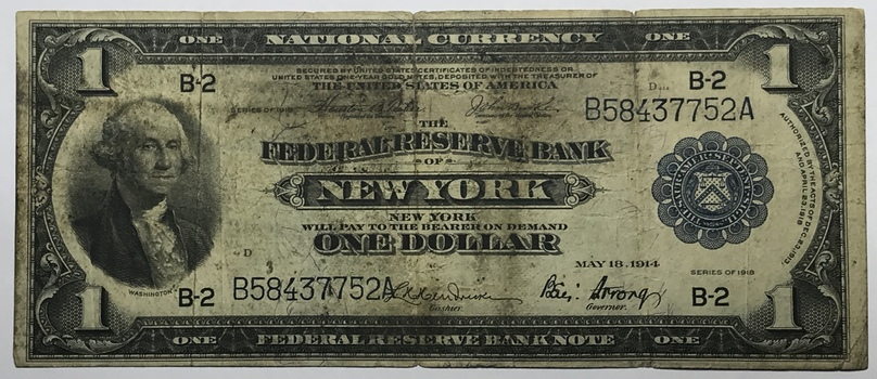 Series of 1918 $1 Federal Reserve Bank New York Banknote - National Currency