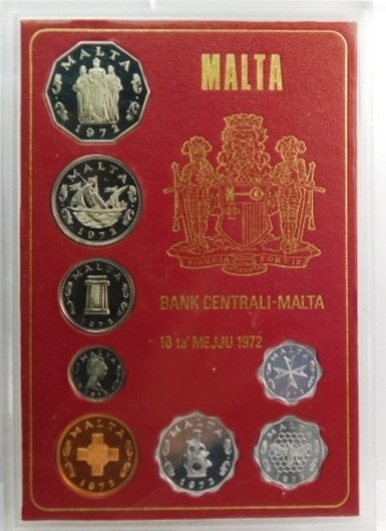 1972 Malta Proof Set in Original Mint Packaging - Low Mintage of Only 8,000!!!
