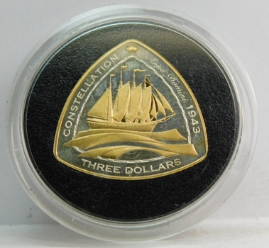 2006 $3 Bermuda Gold and Silver - Shipwreck Series - 1943 Constellation - Proof Condition - Low Mintage of Only 15,000!!!